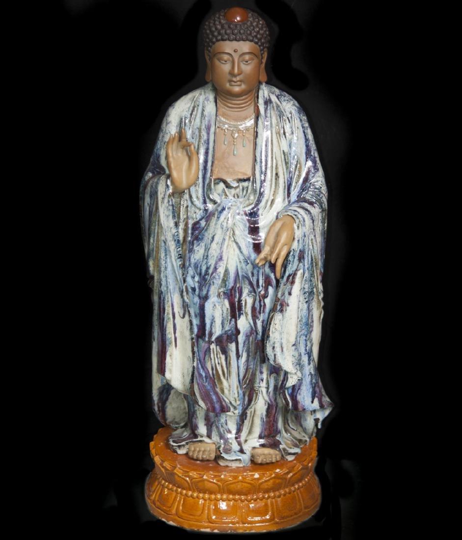 Large Vintage Ceramic Standing Buddha