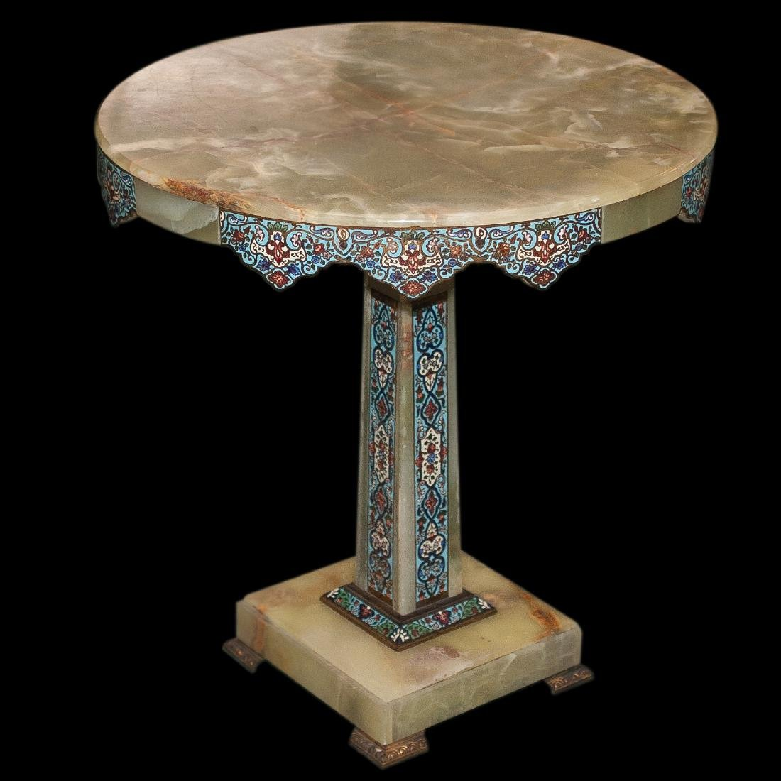 Antique Champleve Onyx Table