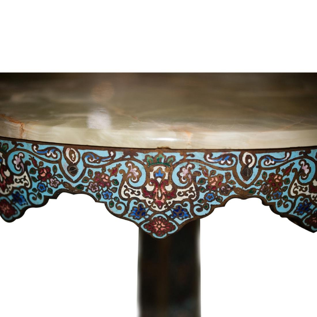 Antique Champleve Onyx Table - 3