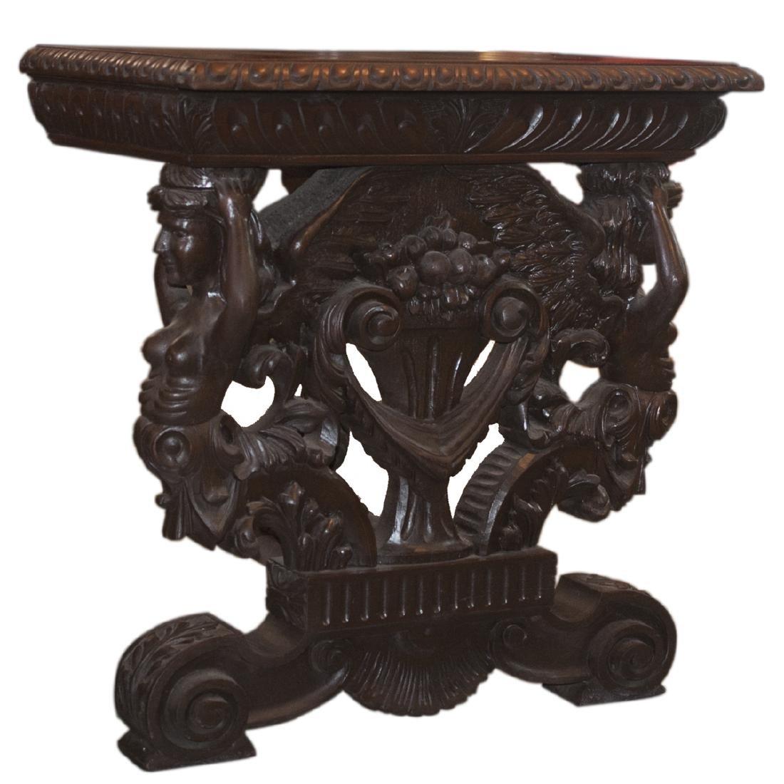 Wooden Figural Rococo Console Table
