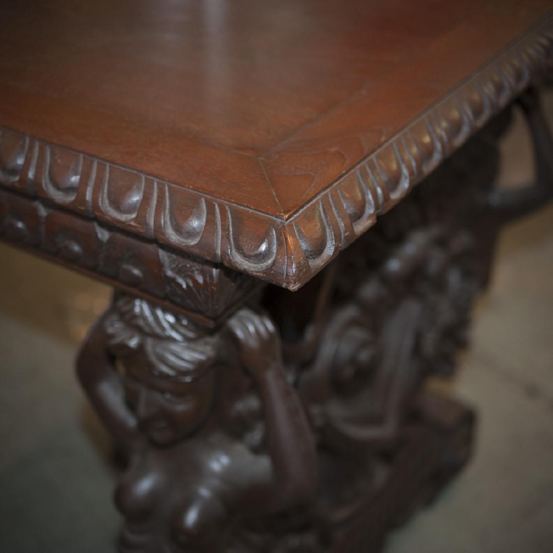 Wooden Figural Rococo Console Table - 4