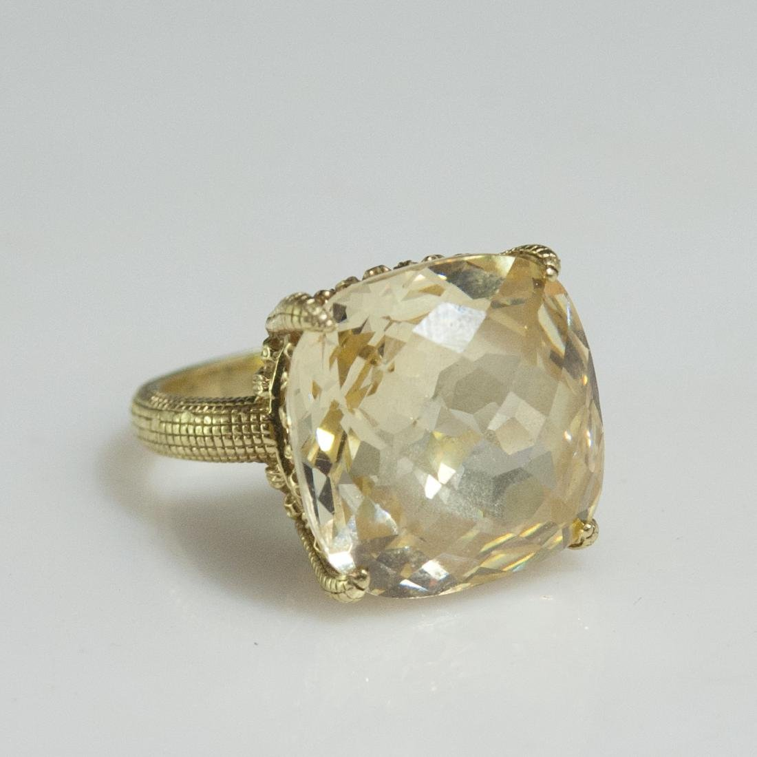 Judith Ripka 18kt Gold & Canary Quartz Ring