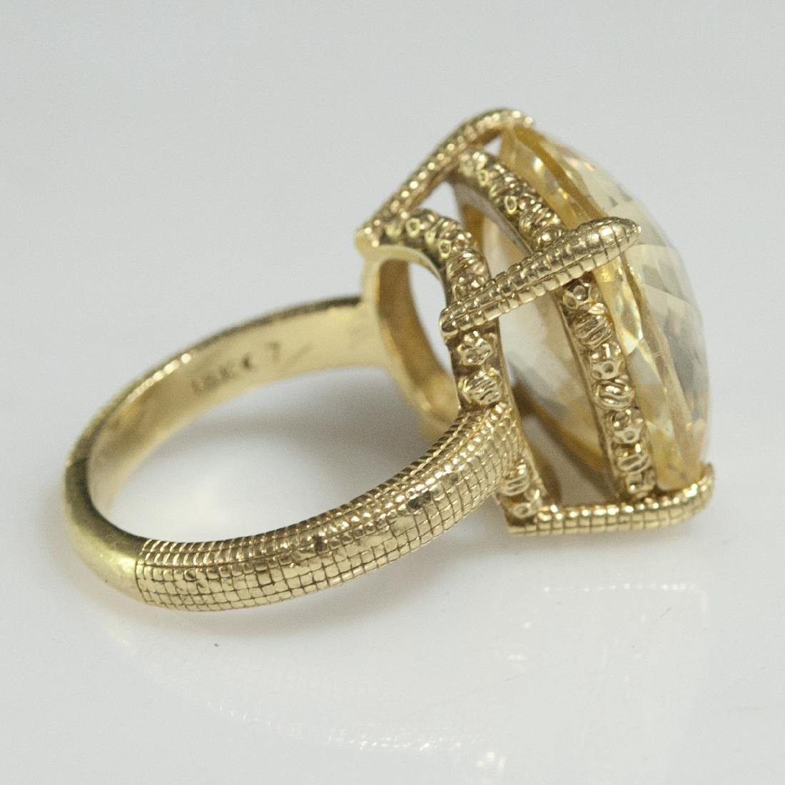 Judith Ripka 18kt Gold & Canary Quartz Ring - 4