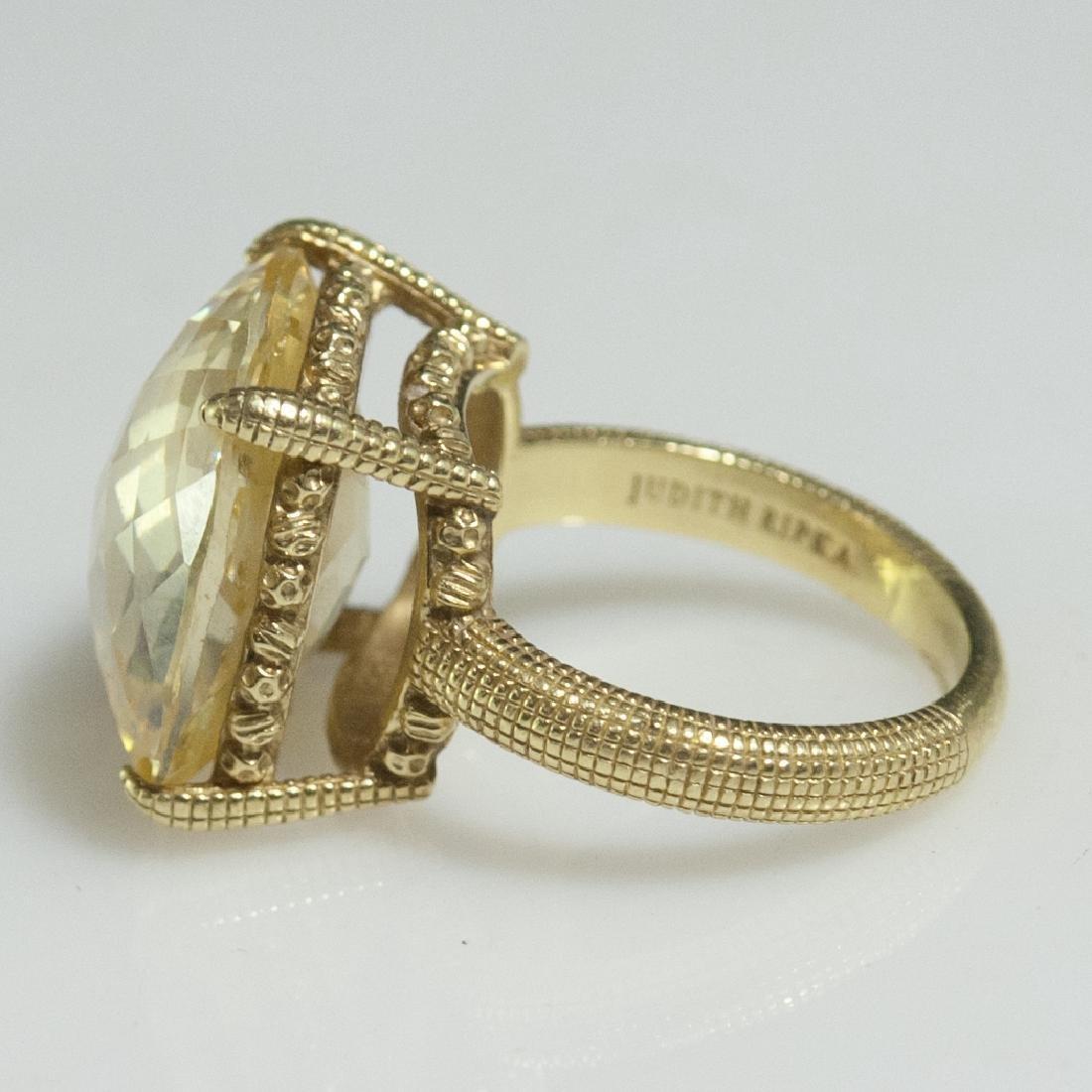 Judith Ripka 18kt Gold & Canary Quartz Ring - 5