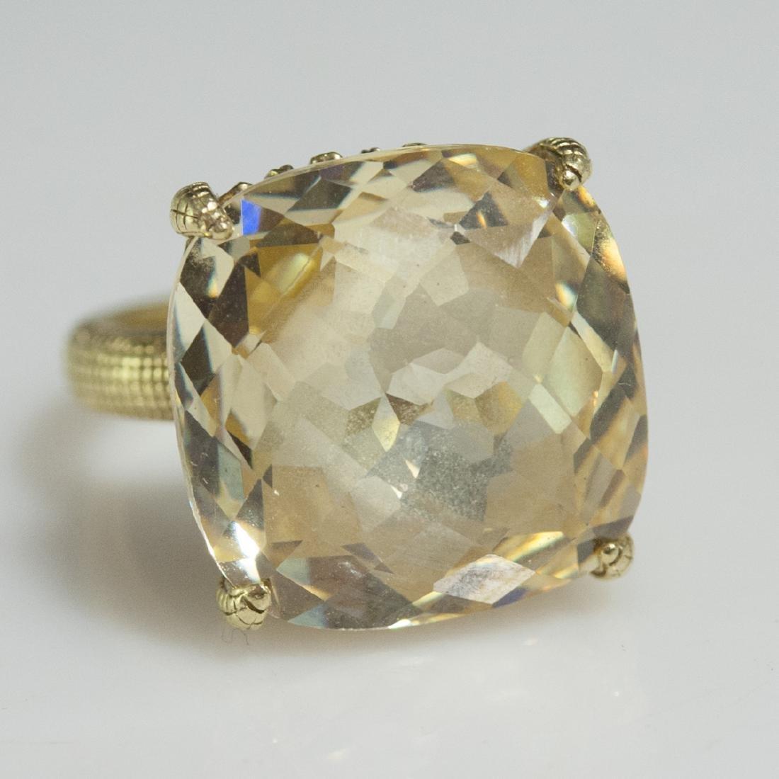 Judith Ripka 18kt Gold & Canary Quartz Ring - 6