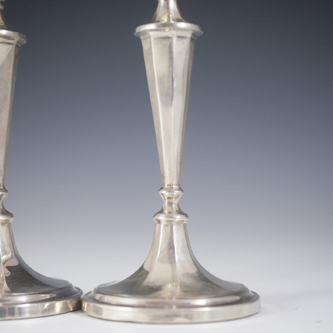 Antique Roberts & Belk Sterling Candlesticks - 4