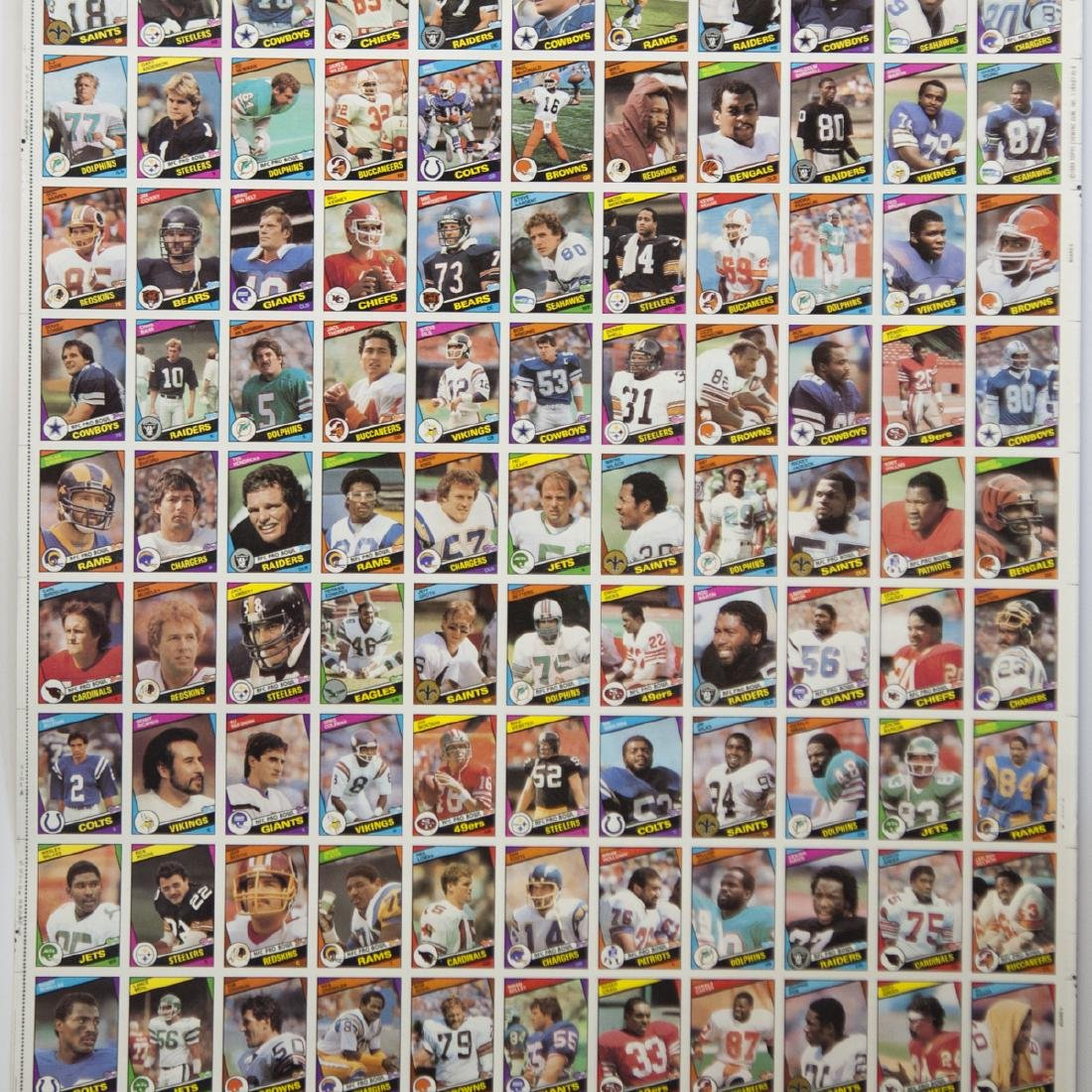 1984 Topps Chewing Gum NFL Card Sheets - 2