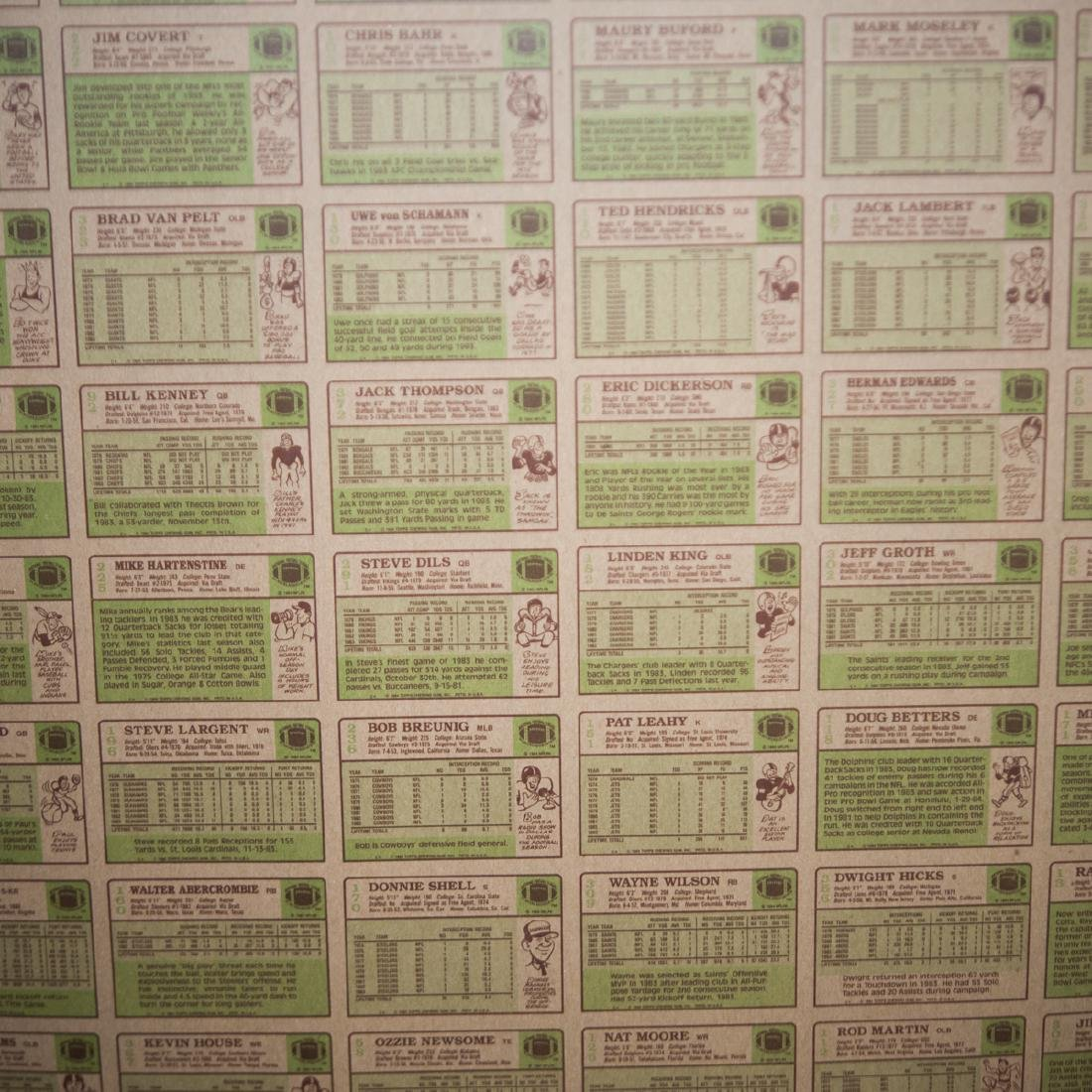1984 Topps Chewing Gum NFL Card Sheets - 3