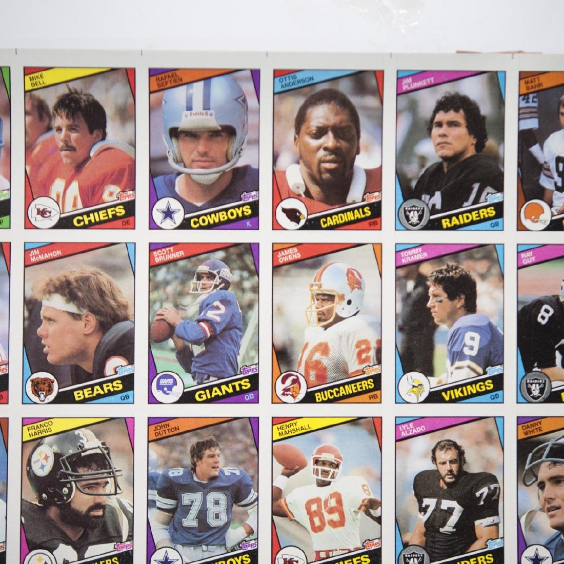 1984 Topps Chewing Gum NFL Card Sheets - 4