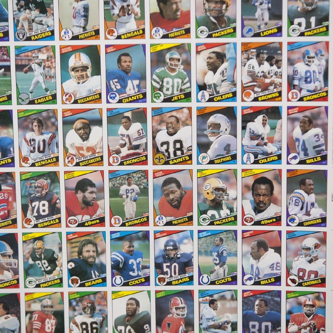 1984 Topps Chewing Gum NFL Card Sheets - 5