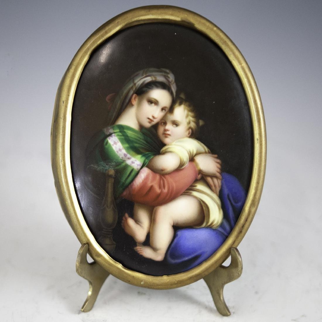 KPM Style Madonna Della Sedia Porcelain Plaque