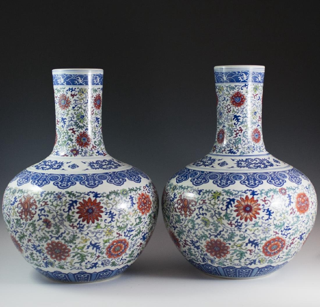 Large Chinese Wucai Tianquiping Porcelain Vases