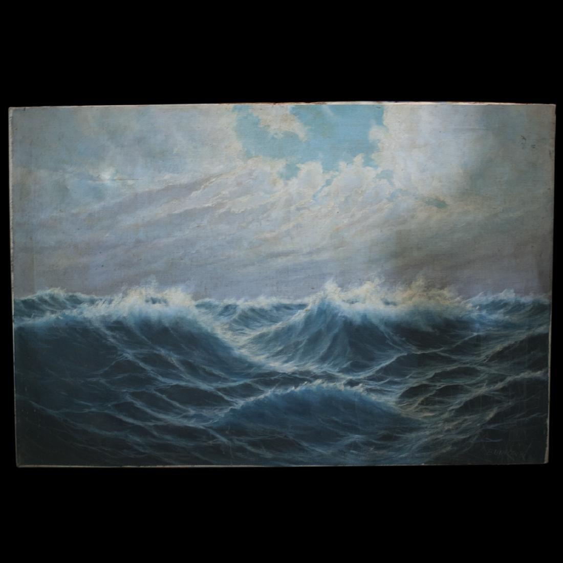 "Antique Nautical Oil on Canvas Signed:""Budkaik"""