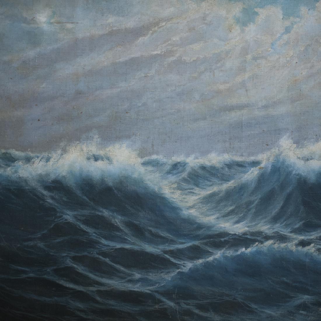 "Antique Nautical Oil on Canvas Signed:""Budkaik"" - 4"