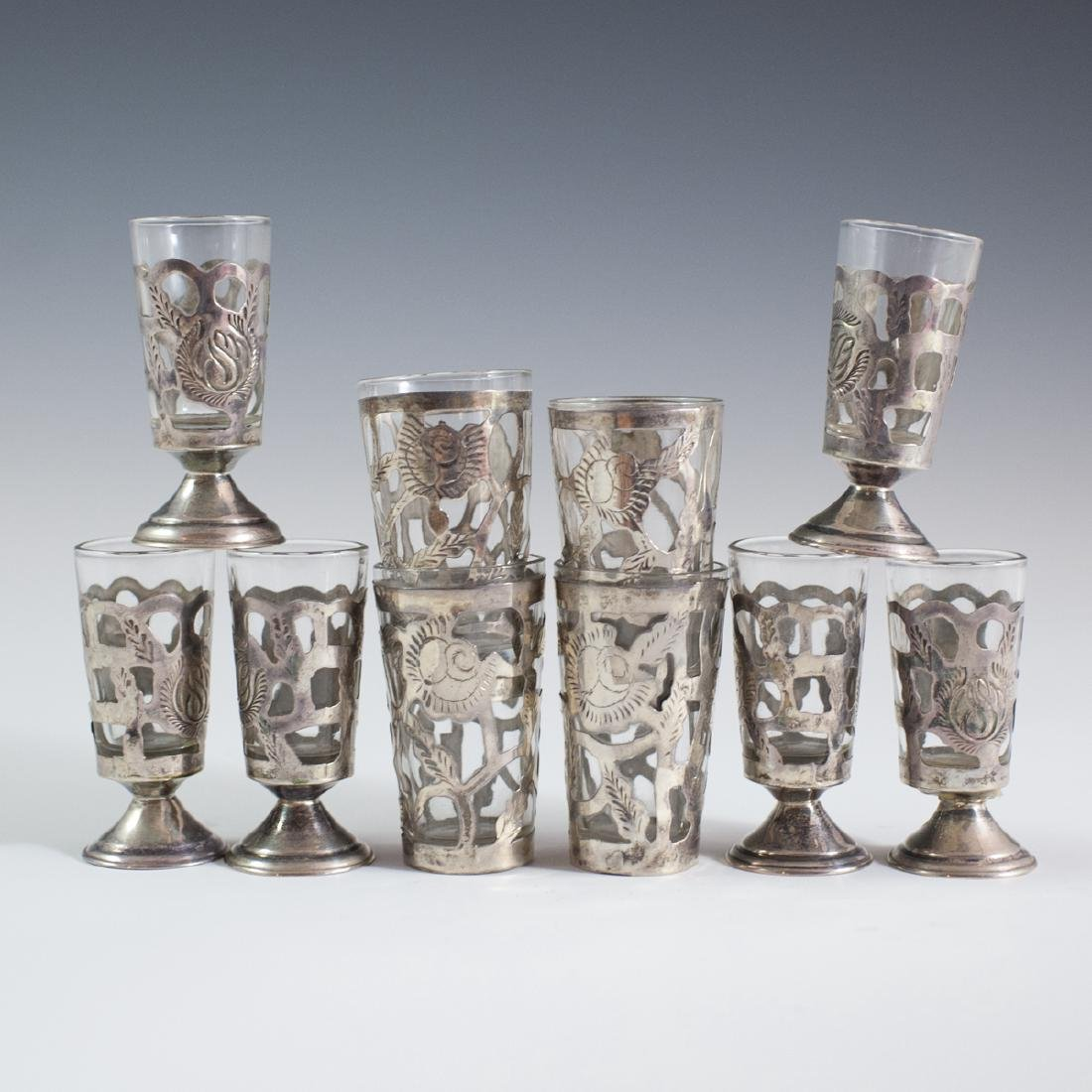 Mexican Sterling Overlay Glass Cordials