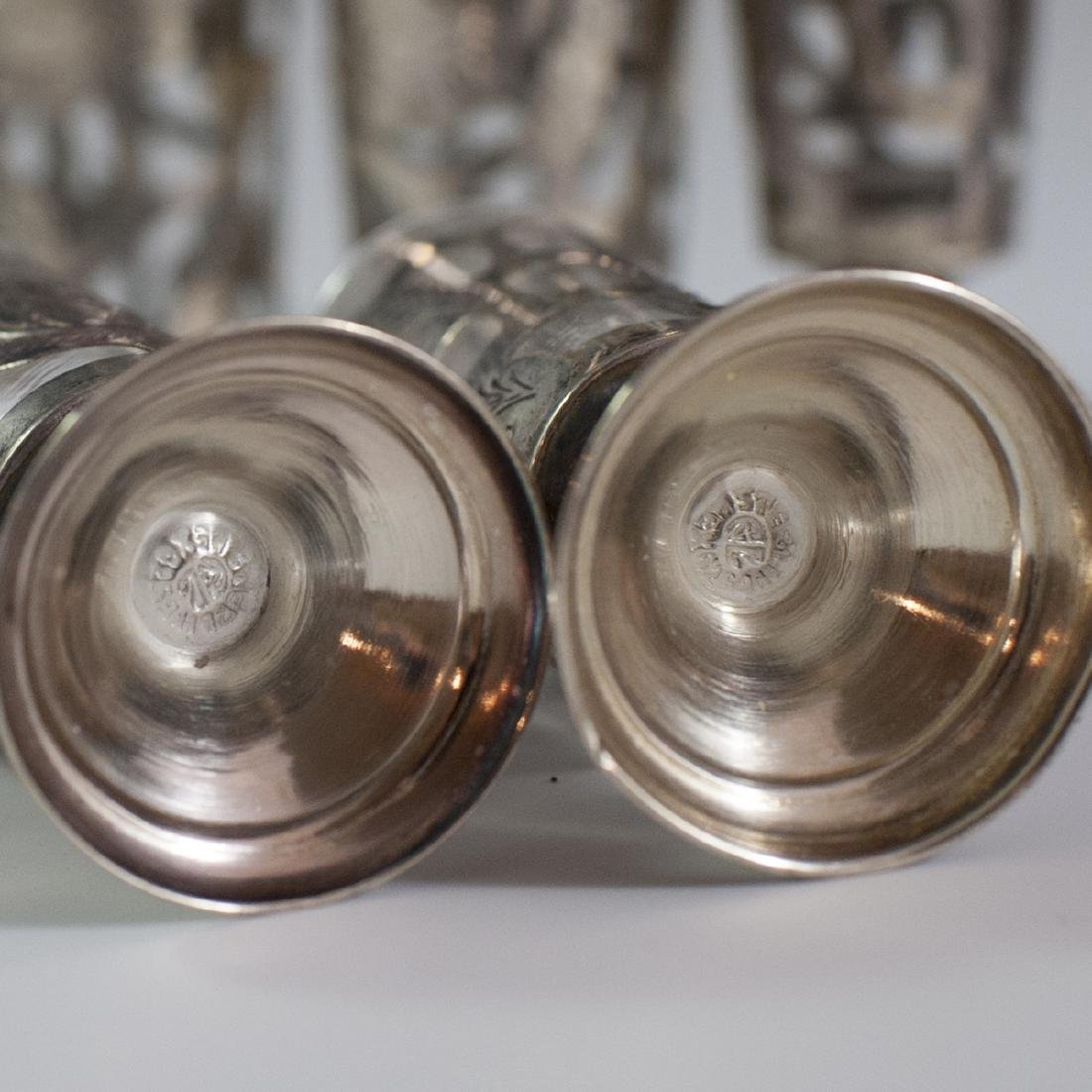 Mexican Sterling Overlay Glass Cordials - 3