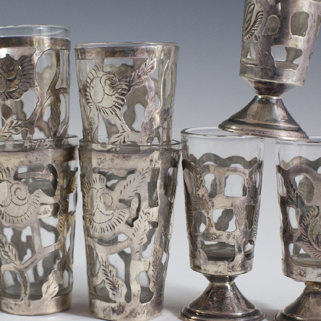 Mexican Sterling Overlay Glass Cordials - 4