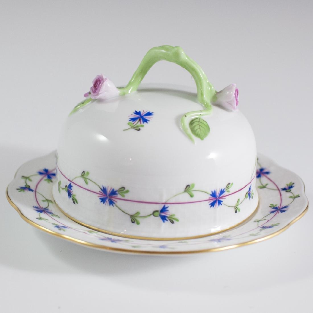 "Herend Porcelain ""Blue Garland"" Butter Dish"