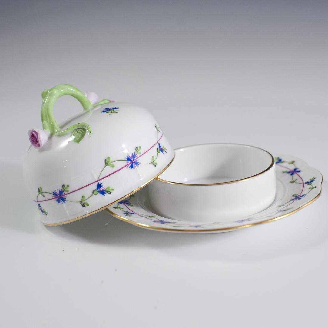 "Herend Porcelain ""Blue Garland"" Butter Dish - 4"