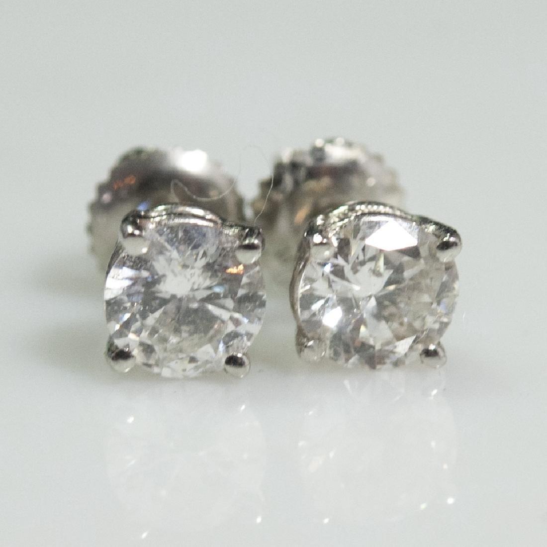 950 Platinum Diamond Earrings - 2