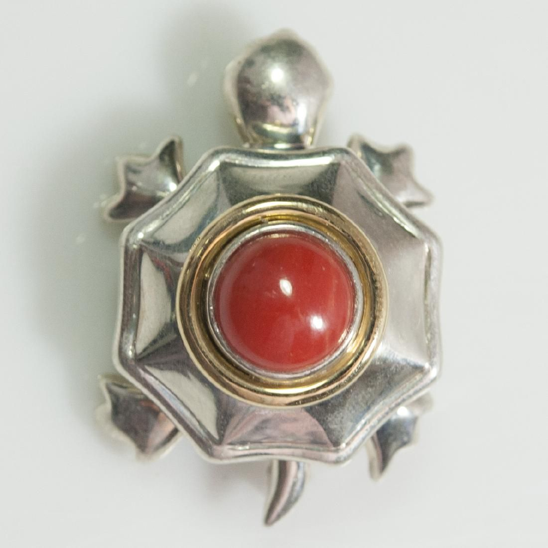 Tiffany & Co. Sterling 18kt Coral Brooch