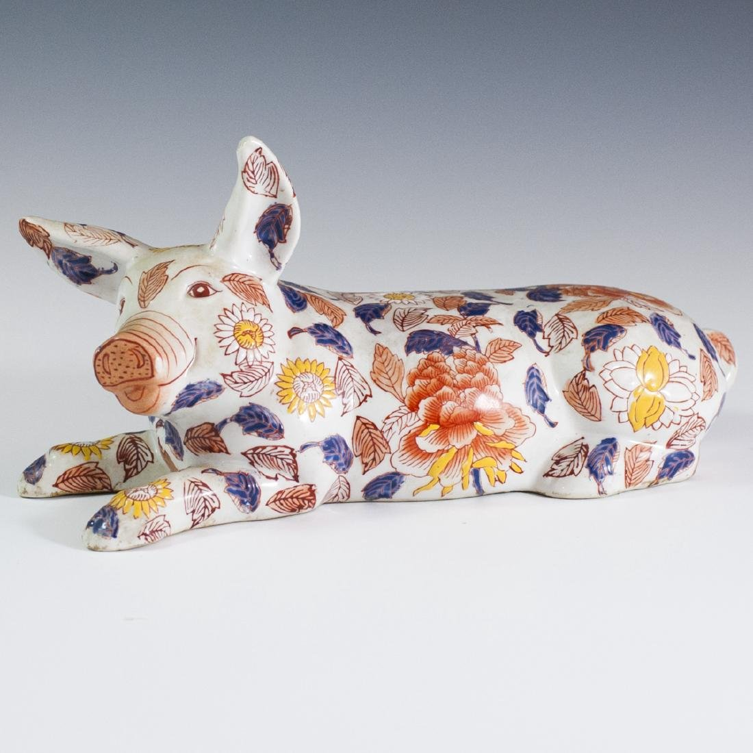 Japanese Enameled Imari Porcelain Pig