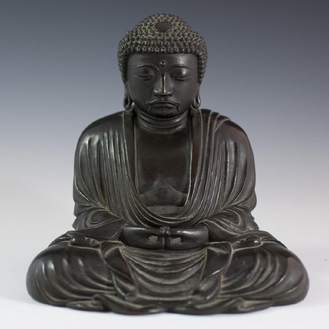 Antique Stamped Southeast Asian Bronze Buddha