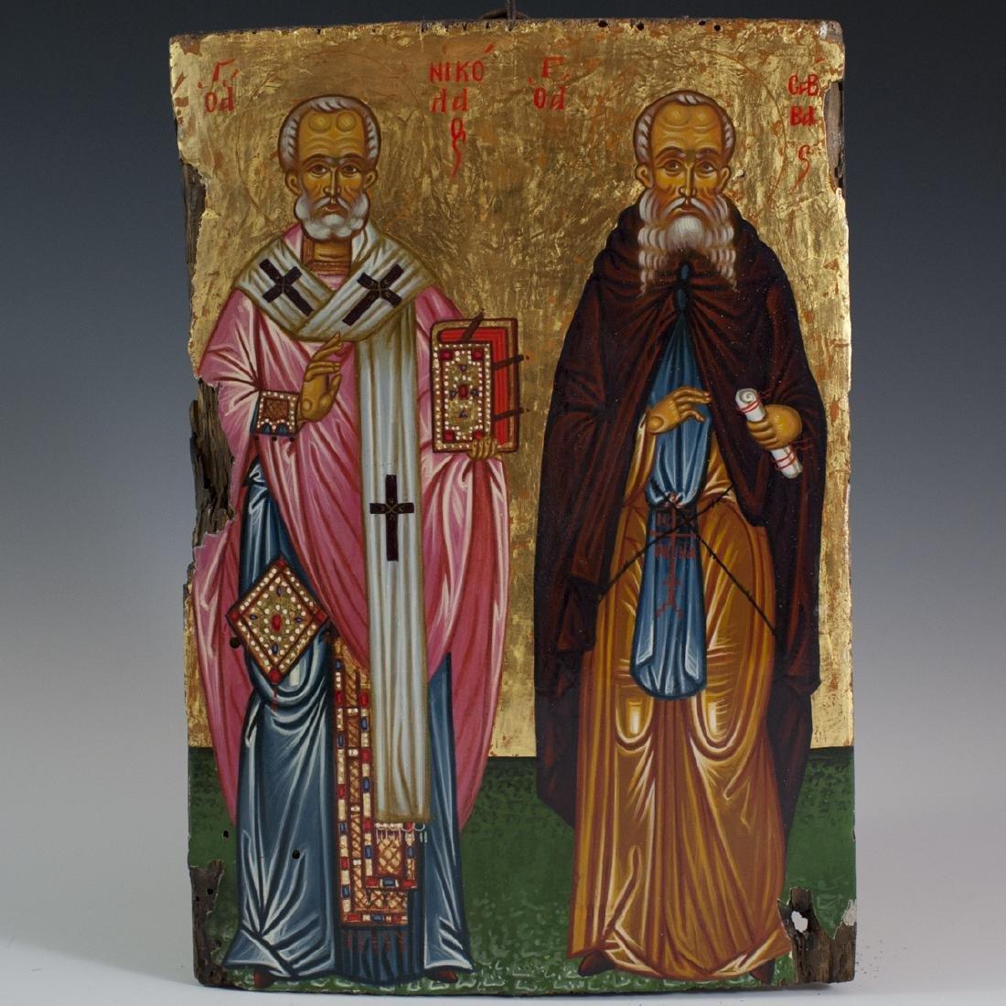Antique Greek Orthodox Wooden Icon
