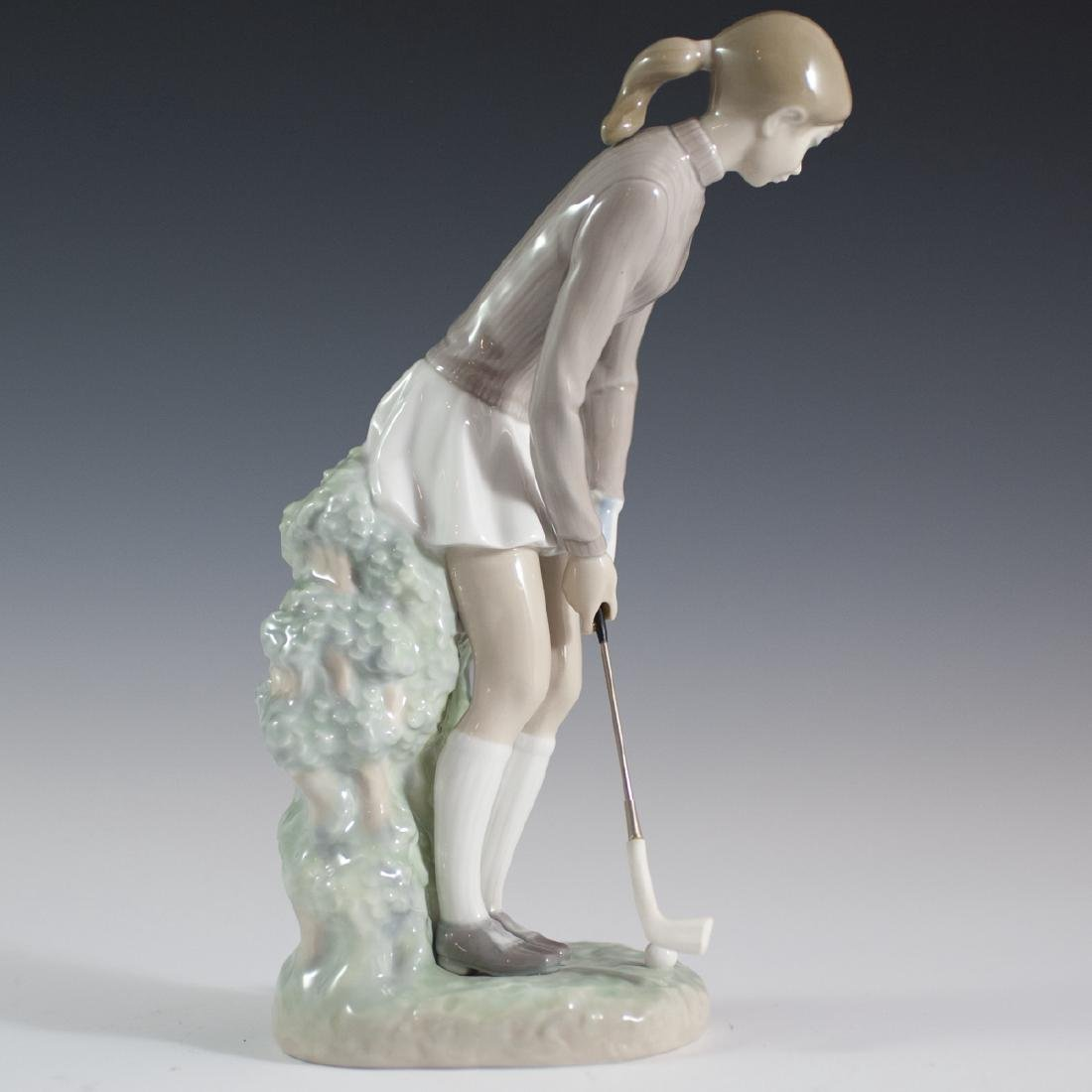 "Lladro Porcelain ""Golf Player"" (Woman) Figurine - 5"