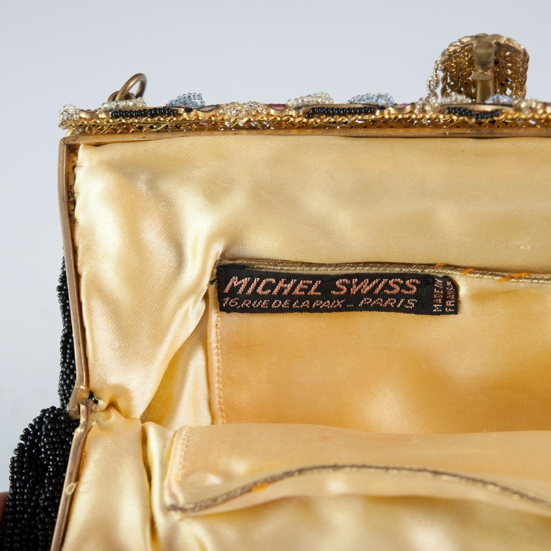 Antique Michel Swiss Enameled Beaded Purse - 3