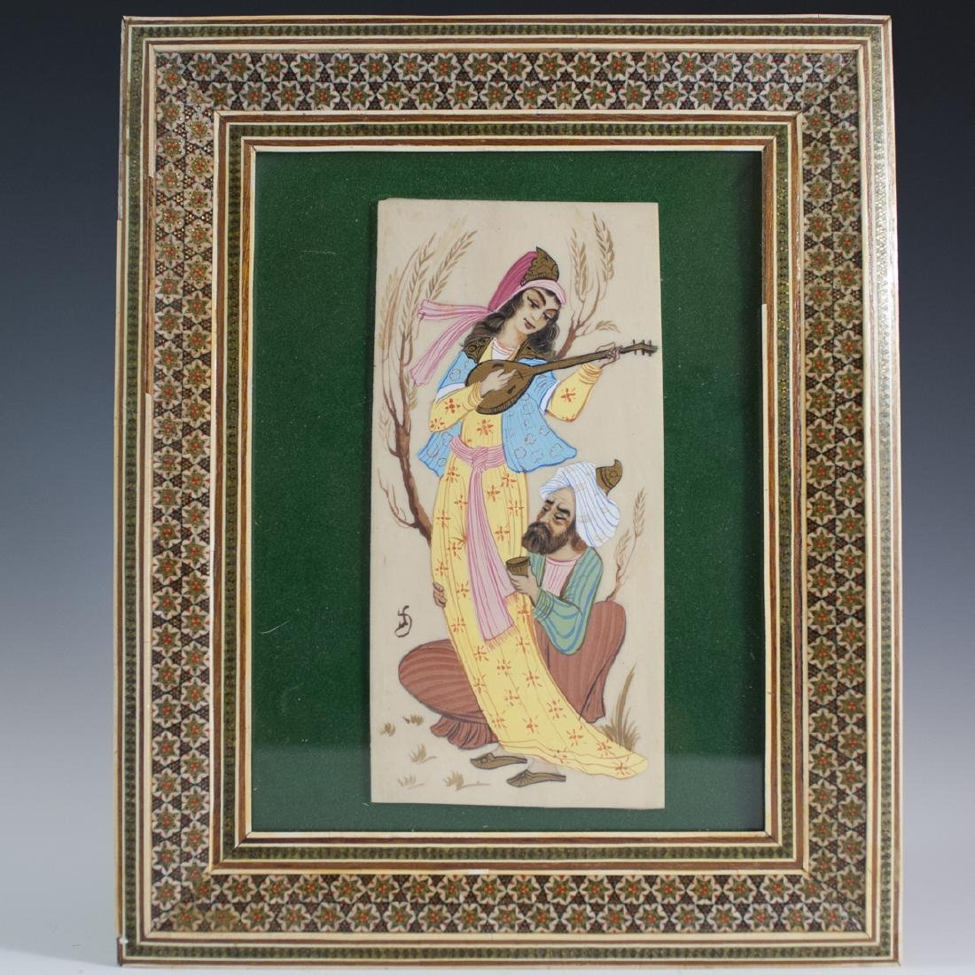 Signed Persian Painting on Bone