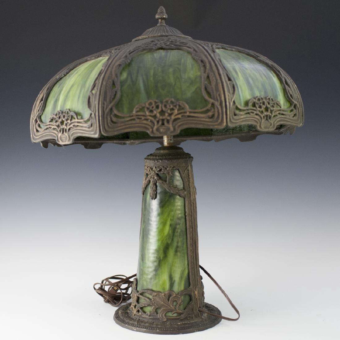 Art Nouveau Style Slag Glass Lamp