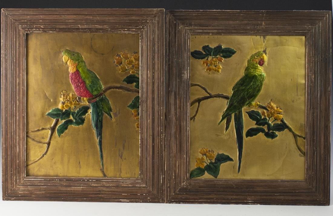 Art Nouveau Style Enameled Parrots