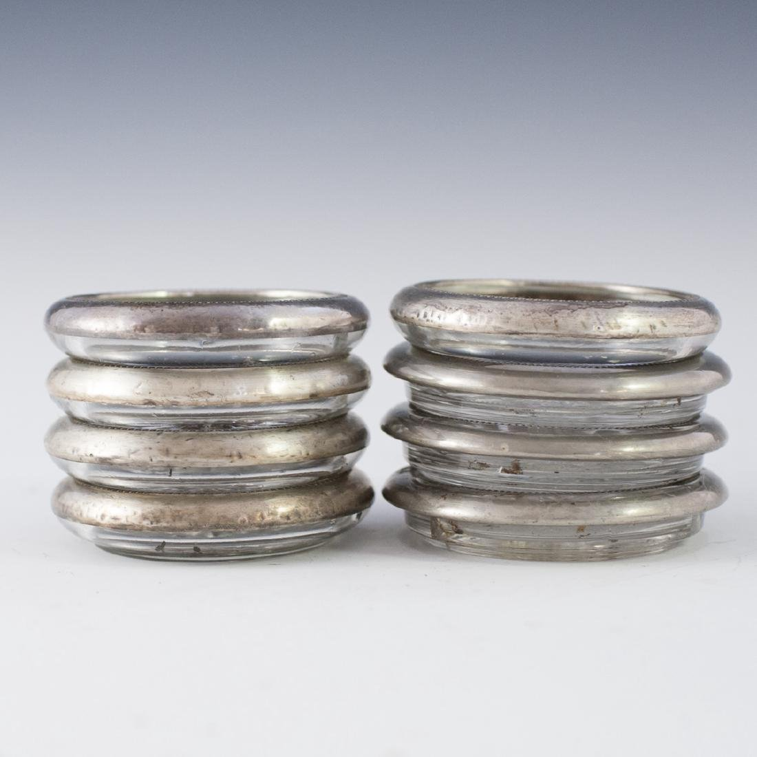 F.B Roger Sterling & silver plated Crystal Coasters