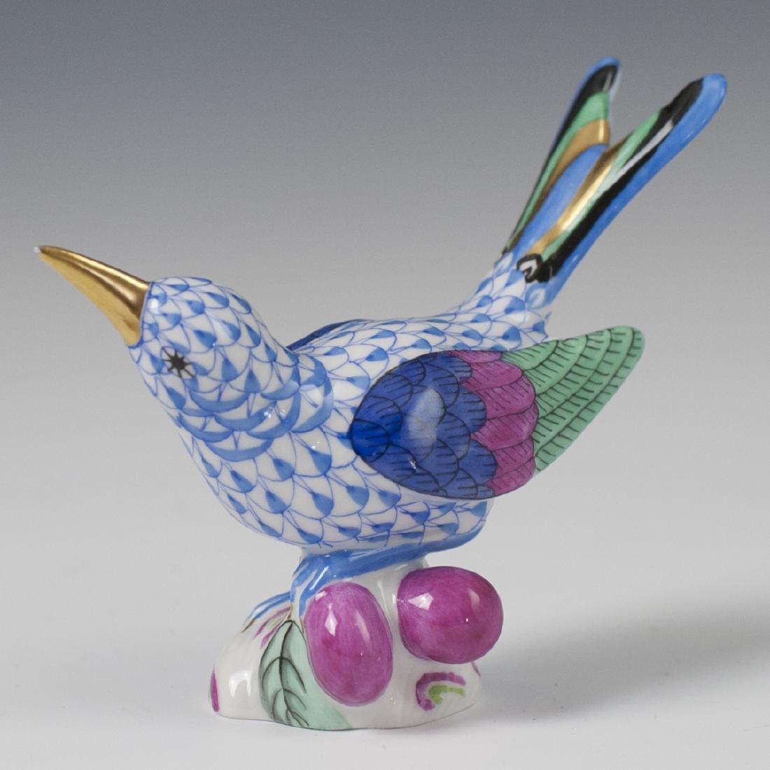Herend Porcelain Blue Fishnet Hummingbird