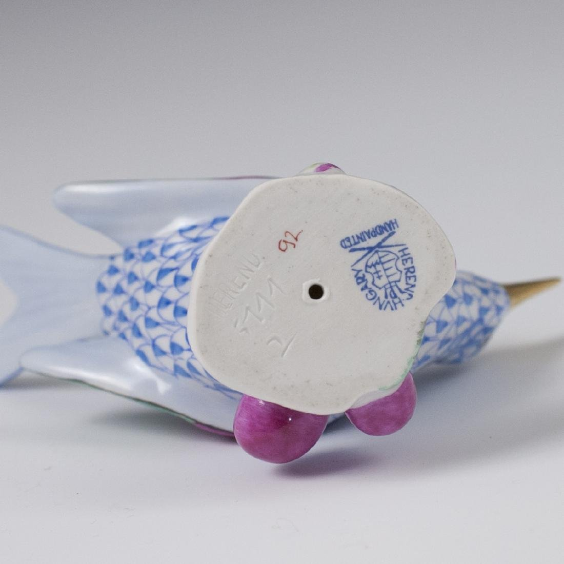 Herend Porcelain Blue Fishnet Hummingbird - 5