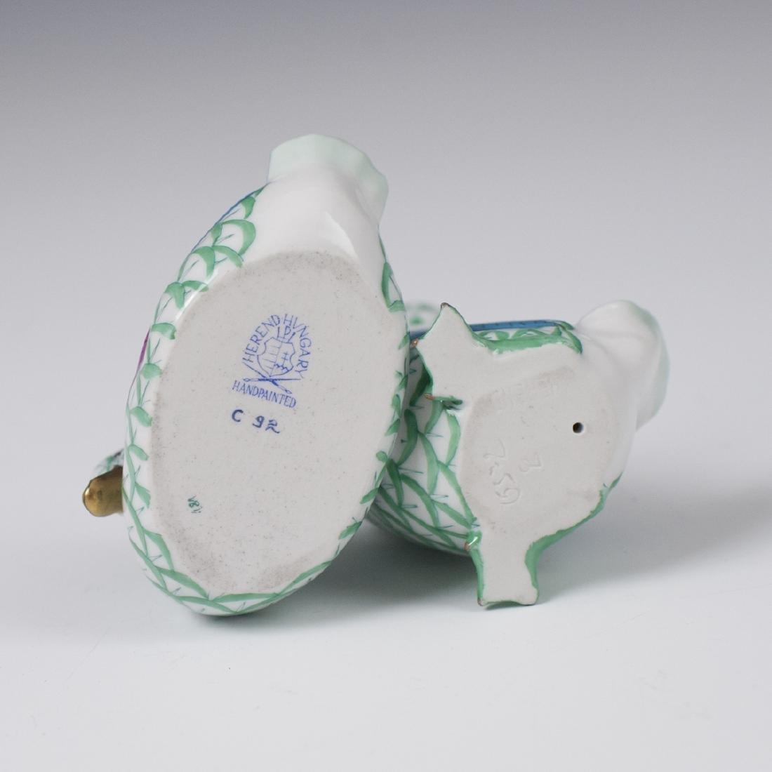 Herend Porcelain Pair of Ducks Fishnet Figurine - 3