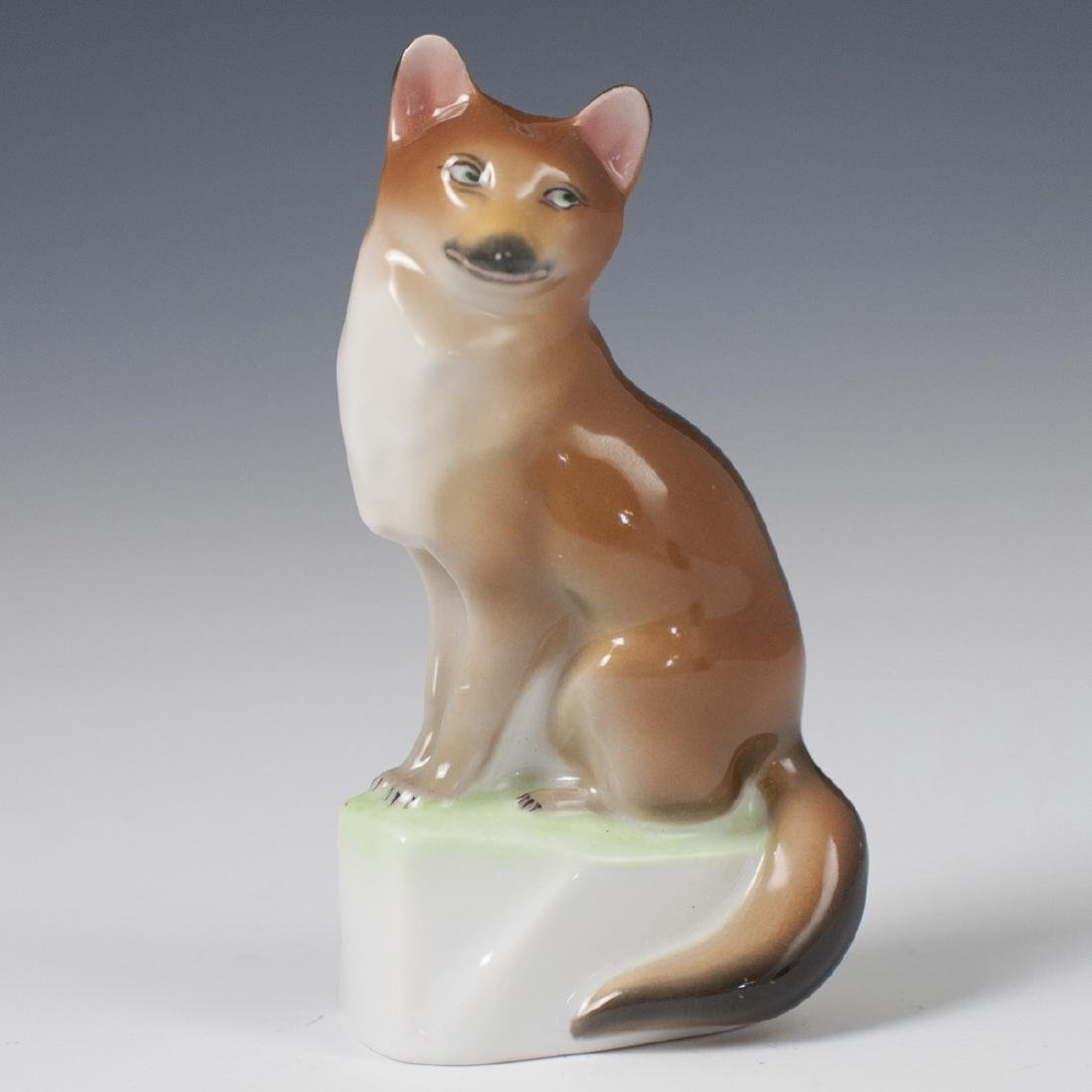 Herend Porcelain Sitting Fox Figurine