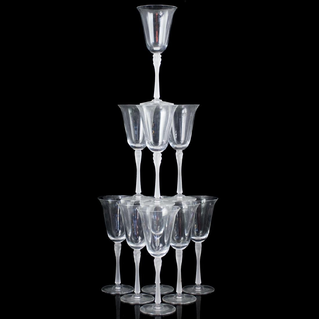 Lalique Style Frosted Crystal Wine Glasses