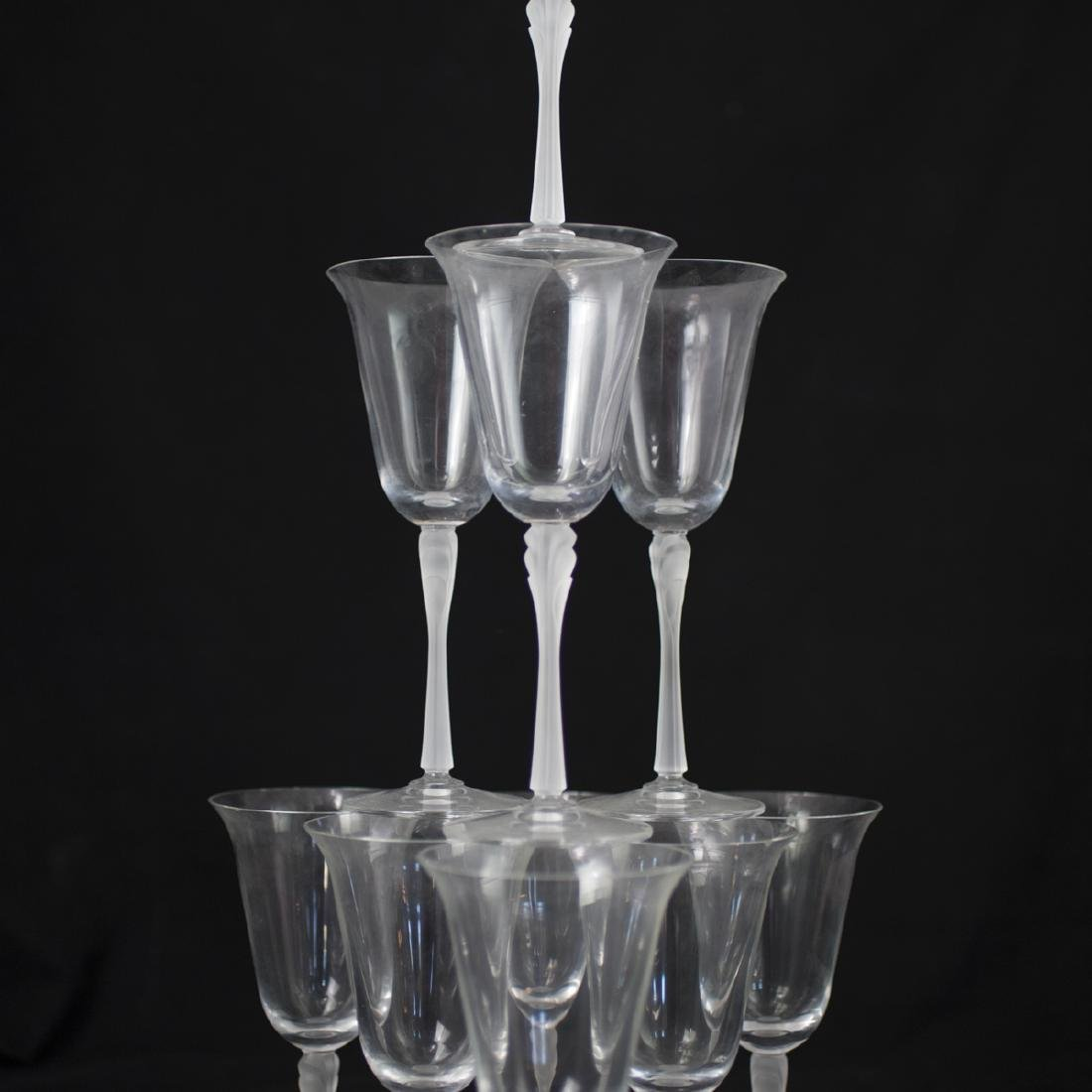 Lalique Style Frosted Crystal Wine Glasses - 2