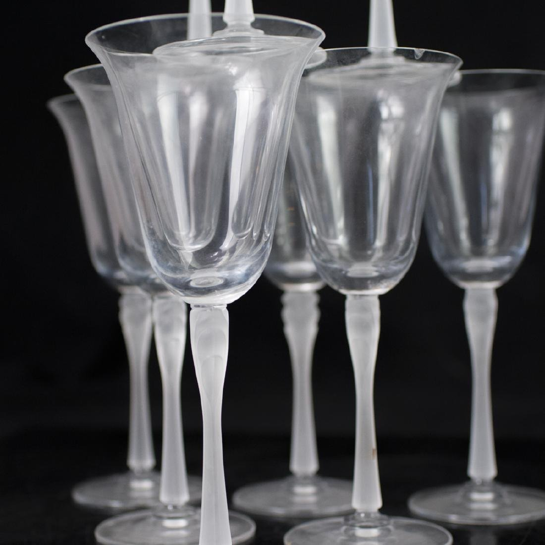 Lalique Style Frosted Crystal Wine Glasses - 3