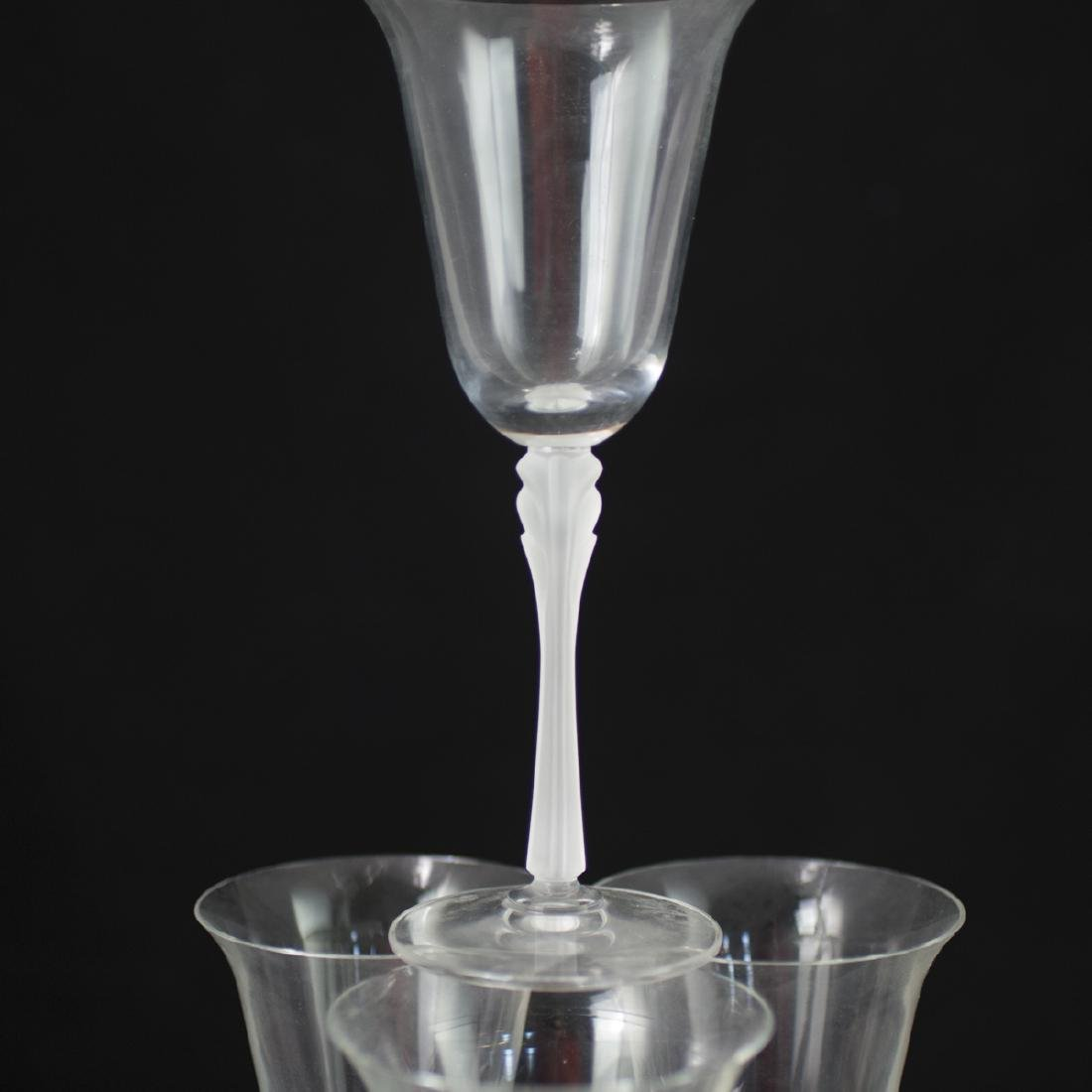 Lalique Style Frosted Crystal Wine Glasses - 4