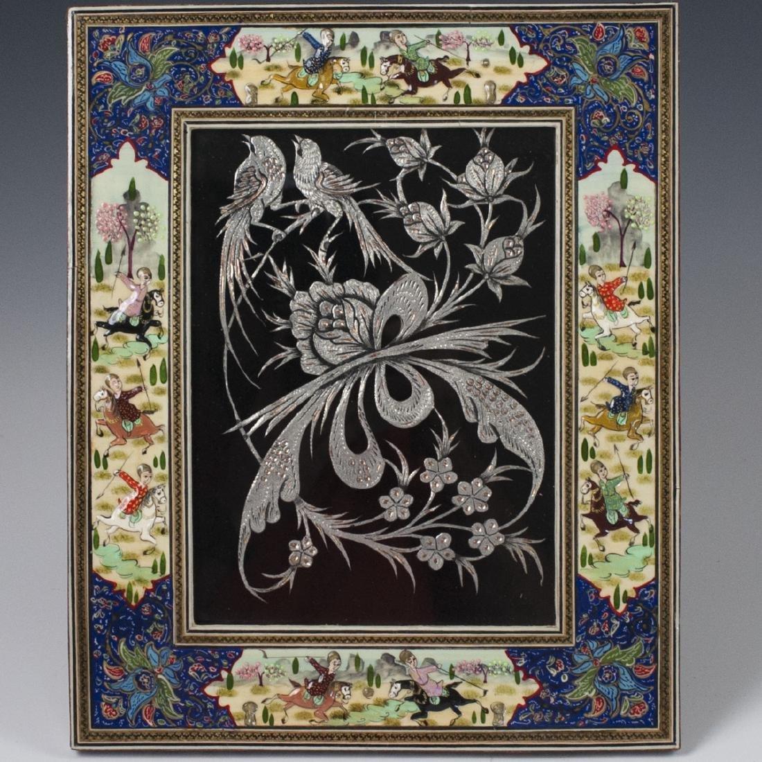 Persian Lacquered Khatam Frame Art