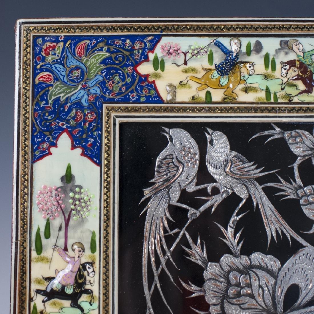Persian Lacquered Khatam Frame Art - 2