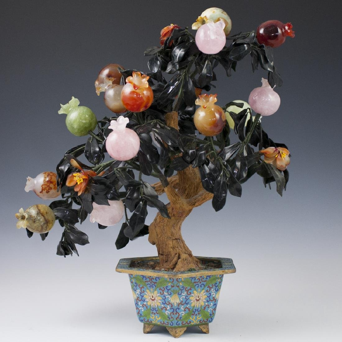 Chinese Cloisonne Enameled Semi-Precious Stone Tree - 6
