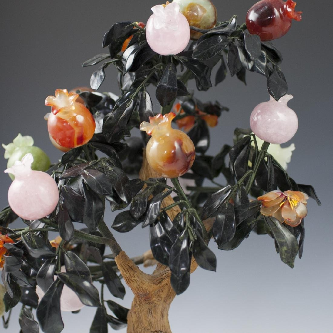Chinese Cloisonne Enameled Semi-Precious Stone Tree - 7