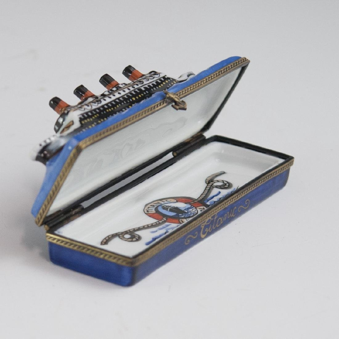"La Gloriette Limoges ""Titanic"" Needle Box - 2"
