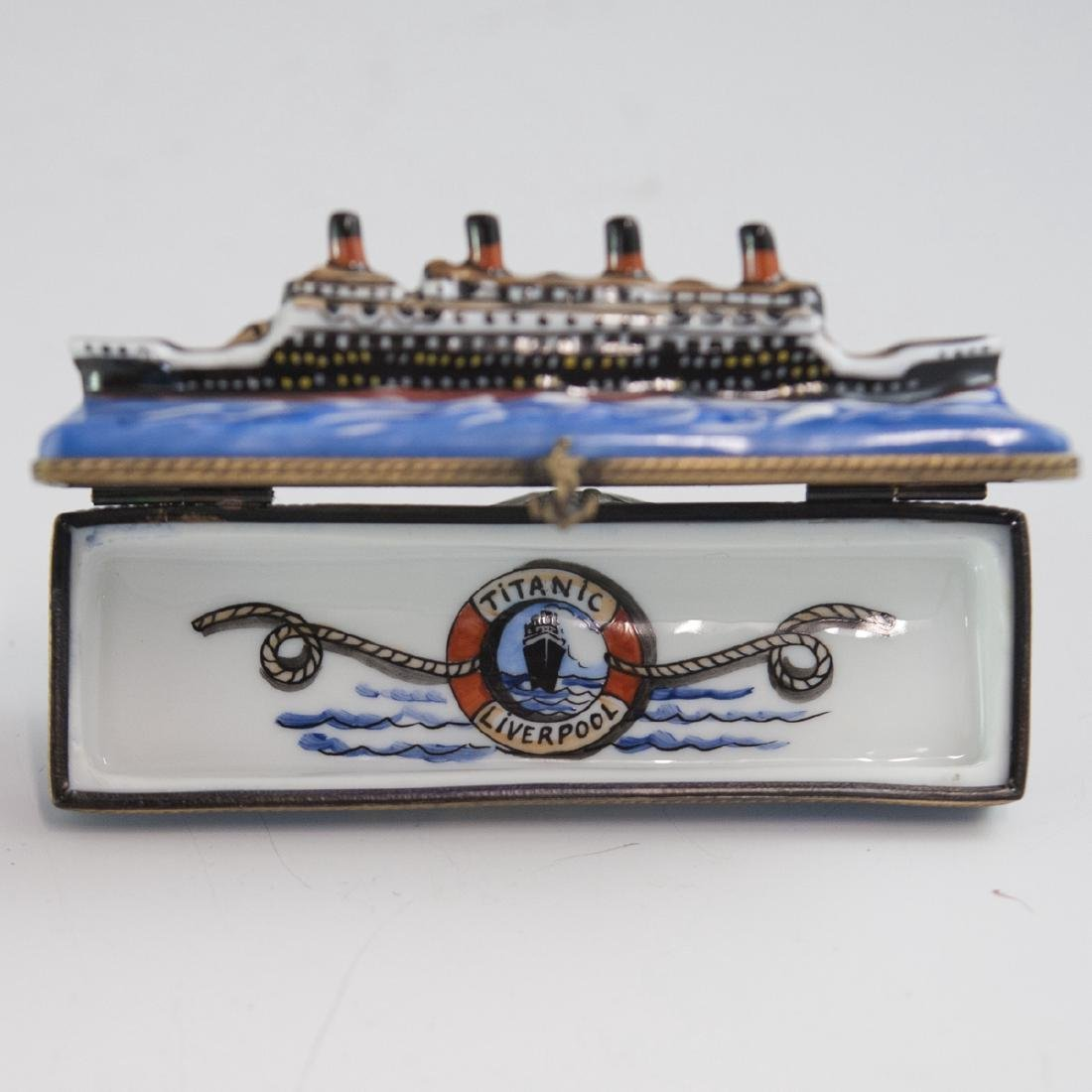"La Gloriette Limoges ""Titanic"" Needle Box - 4"