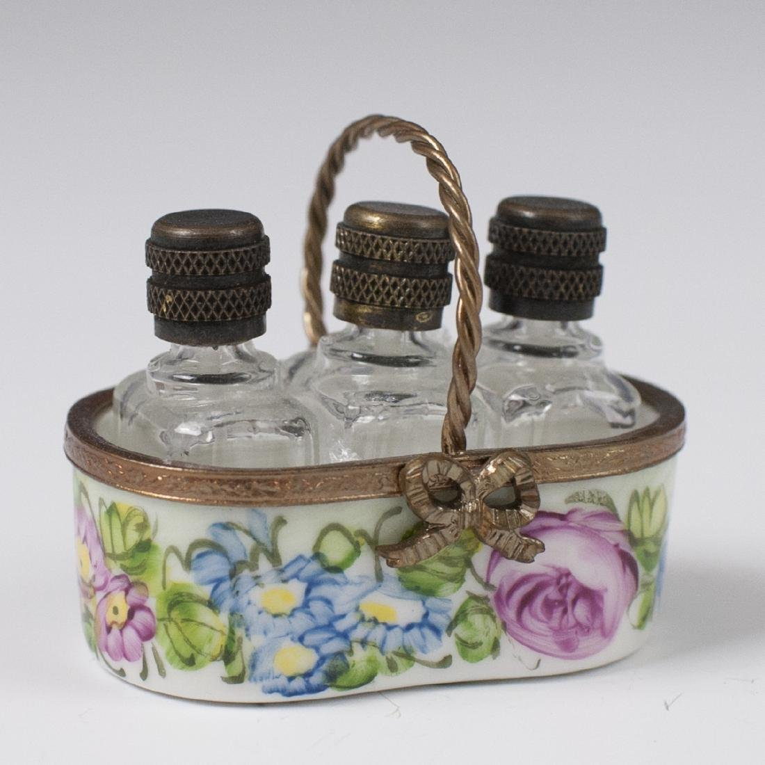 Limoges Porcelain Perfume Bottle Basket - 2