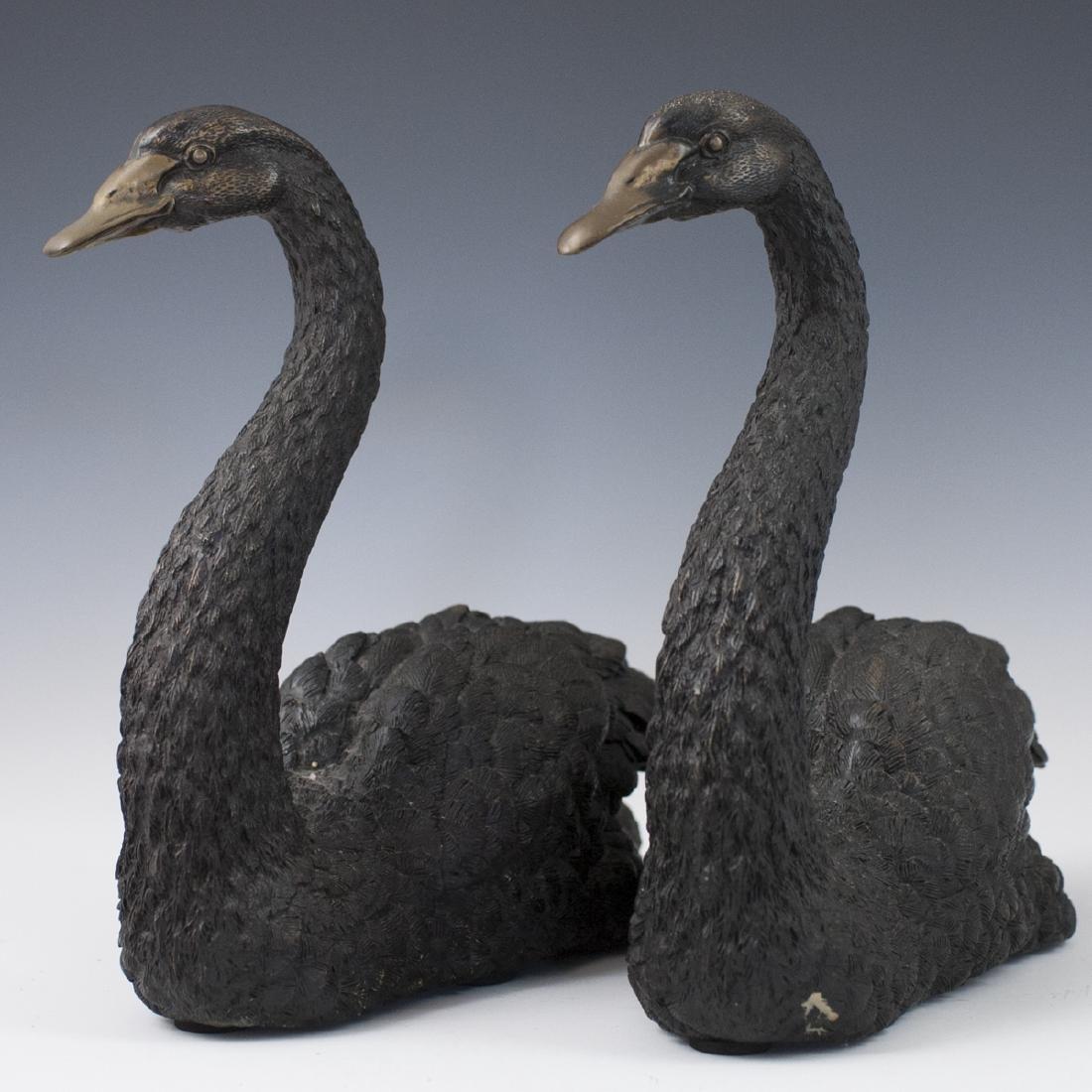 Antique Bronze Swan Sculptures